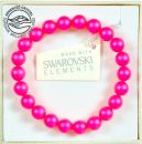 Bracelet with Swarovski pearls 8mm, Neon Pink